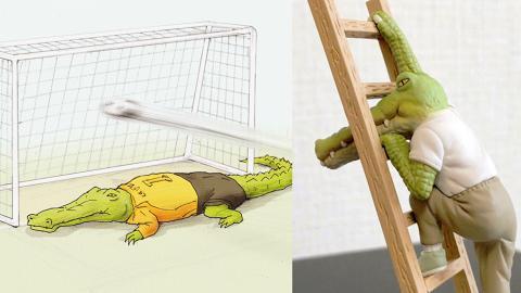 日本黑色幽默插畫《我的生活不可能那麽壞》推扭蛋!「厭世」鱷魚實體外貌曝光