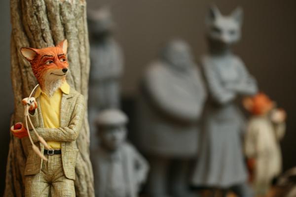 狐狸爸爸的拍攝人偶模型。