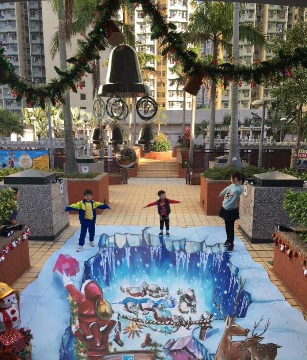 位於大埔大元邨的立體畫「奇幻仙境」。(圖: 政府新聞公報 )