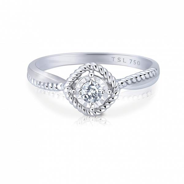 TSL | 謝瑞麟 18K白色黃金鑲鑽石戒指 $2,595 (數量有限售完即止)