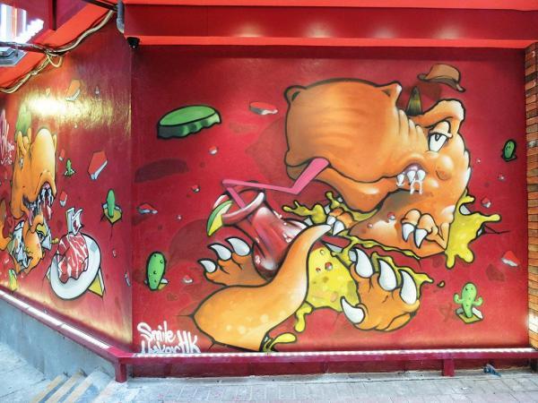 餐廳門外的Greedy Guts恐龍壁畫