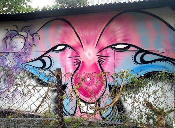藍地大街壁畫藝術圍村 (圖:FB@藍地 lam tei mural)