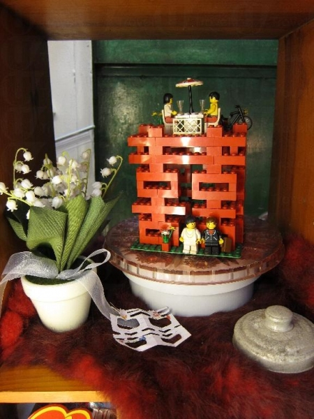 Vincent 親自拼砌的「囍」lego 模型。