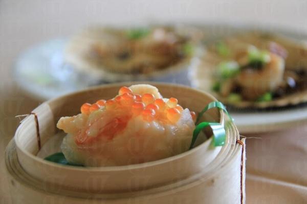 魚籽芥香響螺餃加上了 wasabi 作調味。