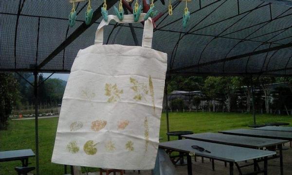 農莊也有DIY活動,利用樹葉汁液印出圖案,製作樹葉環保袋。