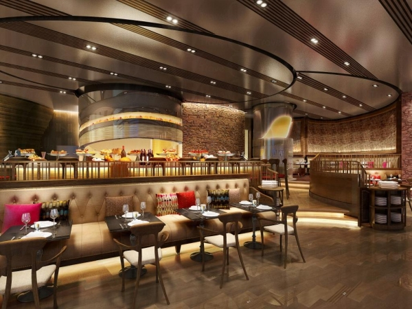 TAPAGRIA以柔和燈光塑造私密情調,及以立體曲線弧度設計的吧台呼應後方的開放式廚房,配搭外型突出的餐椅及吧凳,讓視覺不由自主的跟隨,也藉此向加泰羅尼亞傳奇建築師高迪致敬。
