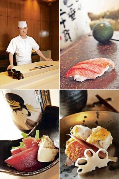 主廚 Chef Masa。/ 吞拿魚壽司/ 醃漬吞拿魚伴山葵葉/ 燒鱈場蟹伴薑芽烏魚子