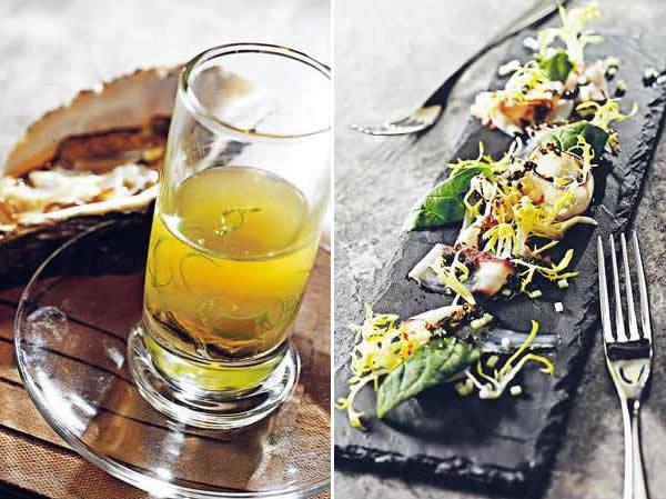 生蠔凍杯配「火山」(時價再加 $20)/ 八爪魚刺身配青蘋果黑松露香醋($125)