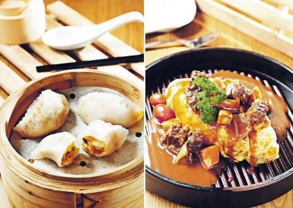 姬松茸野菌餃($24)/ 紅酒燴牛肋肉蛋包飯($68)。(一本)