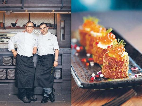 西班牙大廚Alejandro Sanchez(右)及泰籍大廚Amoo,一起創作前衞泰菜。/ 【泰式魚餅沙律 $98】細細件易入口,難怪大廚稱它為Thaipas。