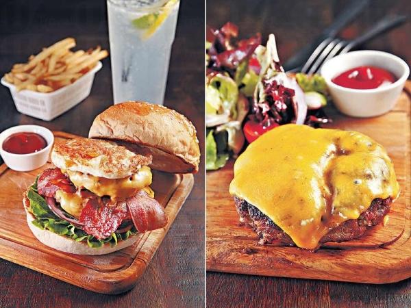 【The Serious Burger $130】兩片漢堡扒、芝士、煙肉等統統夾在兩片包之間,肉汁多到流滿指縫間。/ 【Nudie Burger $98】厚身的漢堡扒Juicy豐腴,與濃郁的芝士是Pe