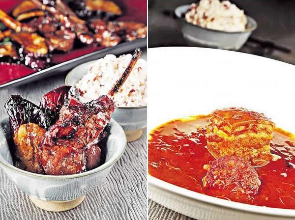 蜜汁羊鞍叉燒:以製作叉燒的方法炮製英國羊鞍及茄子,先焗再以火槍燒脆肉面,羊味原來與叉燒調味料也能好好結合。/ 東坡匯:五花肉先滷過,再以加勒比海式的番茄汁及豆熬足 3 小時,而且更會加入西班牙 12