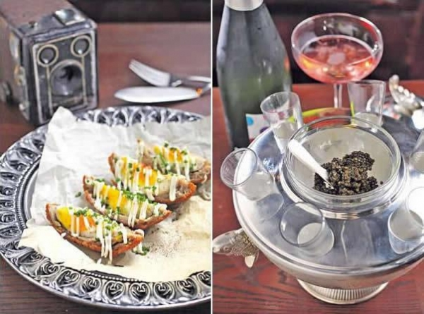 蘇格蘭炸蛋($80):以肉腸碎包着蛋,蘸上麵包糠炸,傳統的英式香口小吃。/ 魚子醬($1,270/30克):來自俄羅斯的魚子醬,可配蛋碎、乾葱碎、煎餅等配料,但最重要還是配杯粉紅香檳或伏特加酒,慢慢歎