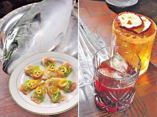 吞拿魚生($120):吞拿魚片淋上柚子汁、紫蘇葉油和墨西哥辣椒,酸辣香集一身。/ Rhum in Fashion($120,圖前)以青檸、呍呢嗱、朱古力等酒調校,苦苦哋又酸酸哋,有些掯。Ribstop