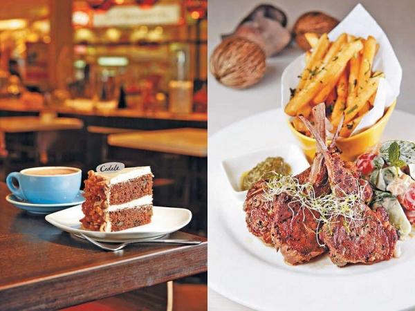 【Carrot and walnut cake $40/件、$300/個(約八吋)】新加坡開店至今熱賣作,用意大利葡萄籽油炮製,健康又鬆軟。 / 【Grilled lamb $180】燒新西蘭羊架頗羶