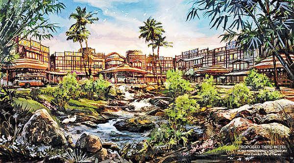 新酒店樓面建築面積達五萬平方呎,將以探索冒險為主題,踏入酒店可看見河流、樹木等熱帶森林園景。 (圖片由迪士尼樂園提供)