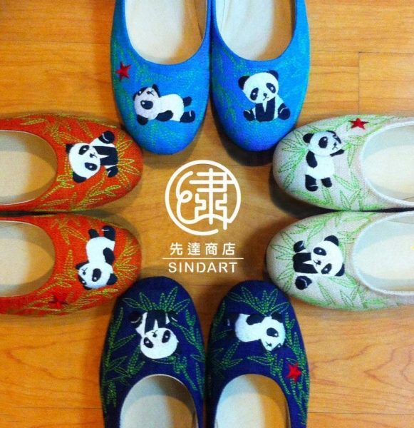 熊貓麻布繡花鞋,適合少女平日casual  look。(照片來源:先達商店)