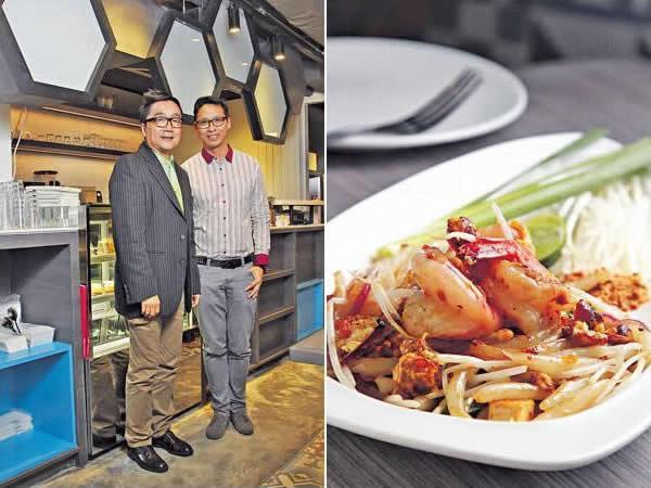 餐廳創辦人 Tony(左)及Andrew(右)原來都是香港人,多年前在曼谷開設 Bug & Bee,想為當地人帶來悠閒空間及創新的美食。/ 泰式鮮蝦炒銀針粉($108):取材自泰式炒河,配料跟原著一樣