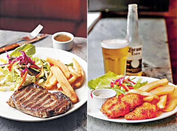 【Two for one steak promo $280】每晚推出買一送一優惠,牛扒來自澳洲家庭式農場,草飼牛扒不含荷爾蒙,西冷肉味濃,帶點油花,燒得剛好。 / 【Fish & chips $95】