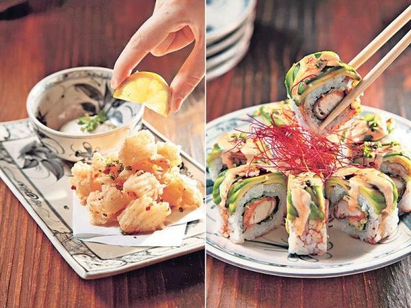 【Salt & Pepper Cuttlefish $90】魷魚外脆內軟好彈牙,食前擠少許檸檬汁再點柚子沙律醬,香口開胃。 / 【Chicken and Avocado Roll $105】外有軟滑牛