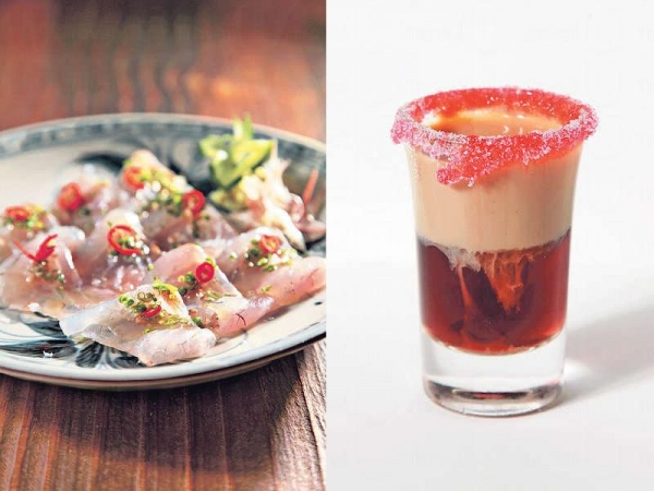 【Snapper Carpaccio with White Soy and Lime $120】白醬油鹽份比黑醬油少,加青檸汁,為鯛魚提味之餘,又不會搶走魚肉的鮮甜。 / 【Jam Donut $70