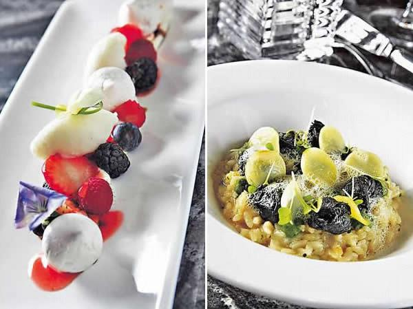 雜莓配蛋白餅及 Fromage Blanc 芝士($118):底層是 Fromage Blanc 芝士,配上新鮮雜莓、青檸雪葩、薰衣草味的蛋白餅,還加了幾滴 80 年的黑醋提味。/ 勃根地意大利飯($