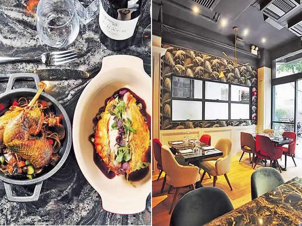 法國珠雞兩食($888):每隻珠雞約1.2 千克重,雞胸用來焗;雞髀以雞骨加紅酒熬成的濃汁來燉煮。黑松露意粉是自家製的,香氣十足。兩道菜合起來夠 2 - 3 人用。/ 餐廳只有約 20 個座位,一邊是