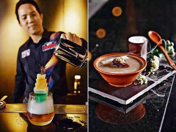 一零一煙火(未定價,稍後推出):台北 101 大樓造型的 Cocktail,特別淋上點火的苦艾酒,很搶眼!Shin 教路先喝了小杯的菠蘿汁及高山茶酒,吃掉那串菠蘿,然後喝最底的日月清茶加玫瑰糖水,平衡