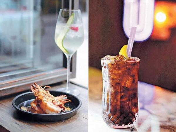 【Gambas al ajillo $158、White sangria $88】傳統garlic prawn都是細細隻,現變成了巨蝦,更鮮爽,蒜片辣椒夠濃香。西班牙國飲Sangria,也由白酒改成C
