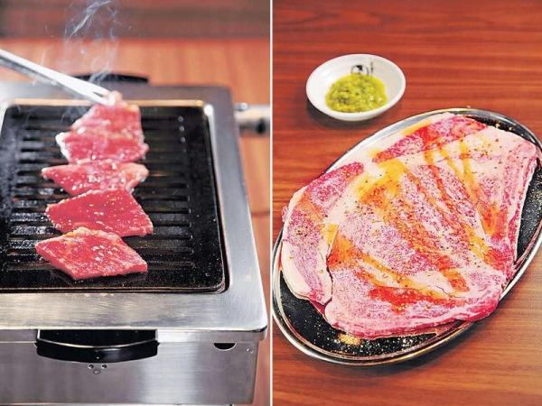 【汁燒黑毛和牛肋肉 $98】醃牛肉的醬汁由日本做好運到香港,燒好味帶香甜。 / 【大得驚人牛小排 $158(日本人氣 NO. 1)】足有200克,選用原件和牛肉眼位置切片,由店員燒製。