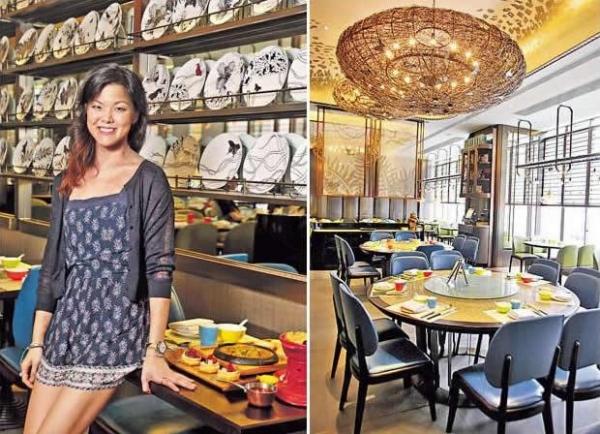 Jessica 年紀輕輕,已開設了中、西餐廳,果然是後生可畏。/ 餐廳吊燈像繭一樣,寓意蝴蝶破繭而出。