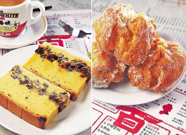 提子蛋糕($4):老冰室食物,蛋糕綿實,落足核桃及提子,脆香酸甜,送奶茶最好。/ 沙翁($5):拳頭般大,炸得香脆有咬口,撒上砂糖,又甜又香。