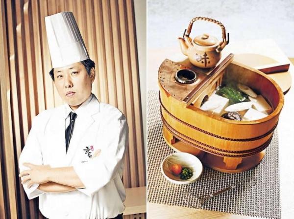 餐廳顧問廚師茅野規章師傅。/ 京都豆腐鍋($280):這個在日本製作的檜木鍋,貌似木桶,是京都豆腐鍋常用到。鍋頂放有一壺醬油及燒熱的備長炭,可保溫,吃時可先從木魚湯內舀起豆腐,隨後才加入醬油、蘿蔔蓉及