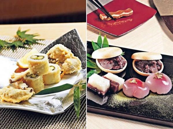 露筍門鱔卷($230):京都式的天婦羅會在主要食材上佐以配菜,如屬主角的九州河鰻魚,便包著少量露筍。京都人食鰻魚喜配上山椒,故廚師把它加入粉漿一起炸,便成了嘉玲最喜歡的天婦羅。/ 廚師每天會自家製作約
