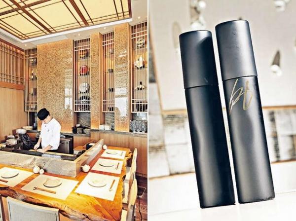 以原條木材製成的壽司吧枱,充滿古典氣息。 / 這款中田英壽十四代大吟釀,全球只有800枝,其中餐廳便擁有20枝,售價為 $17,800/750ml,其中4枝更是中田英壽的簽名版,價值不菲。