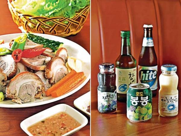 韓式豬手生菜包($138):本地新鮮豬手用水果、醬油等炆煮兩小時,入味實淨而不韌,豬皮爽彈。 / 店子有地道韓國飲品,包括果汁、啤酒及燒酒等。