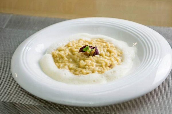 Crab meat risotto