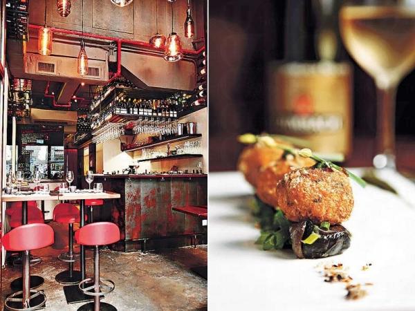 店內連吧枱位只有十多個座位,裝潢帶有法國小酒館的風格。/ 雞肉餅伴勃艮第田螺 $116:香脆的雞肉餅配搭軟腍的法國田螺,加上法式蒜香草汁,口感豐富。