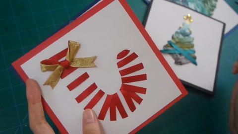 對自己畫功冇信心?試下用絲帶整聖誕卡