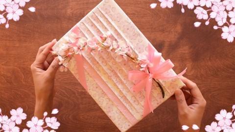 日式和風櫻花包裝 簡易包禮物技巧!