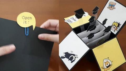 DIY畢業禮物爆炸卡 打開彈出四方帽!