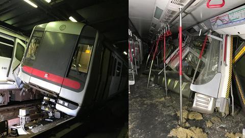 港鐵凌晨測試新信號發生罕見意外 中環站與金鐘站兩部列車相撞嚴重損毀