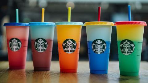 Starbucks新推出一套5種夢幻漸變色環保杯 加冰即變色+自家DIY裝飾圖案/名字