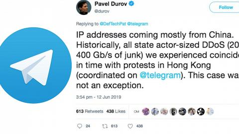 外國通訊軟件Telegram遭大量黑客攻擊 CEO:認事件與香港反修例示威有關
