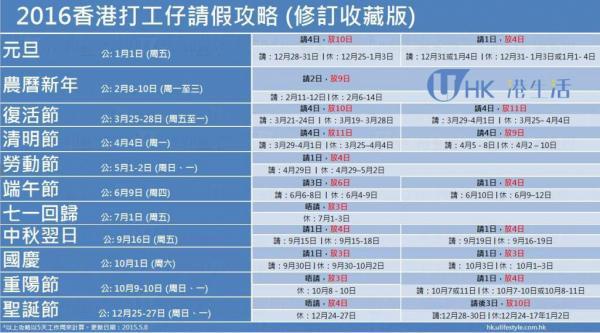 2016年香港公眾假期附請假攻略