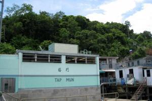 一下船即可見到塔門二字以及不少富有漁村色彩的村屋。