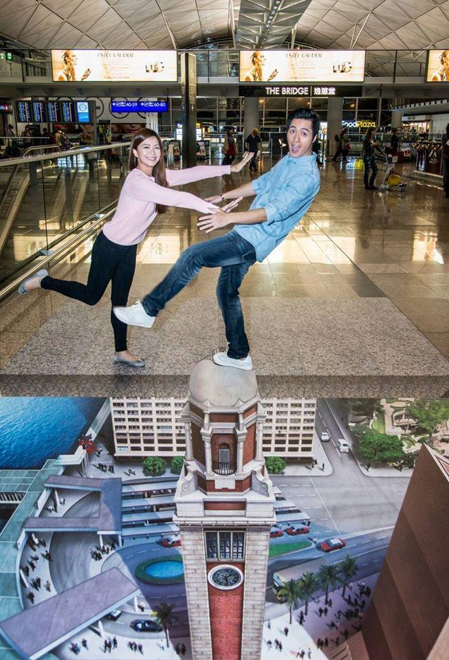 未出發先興奮 機場3D立體畫免費影