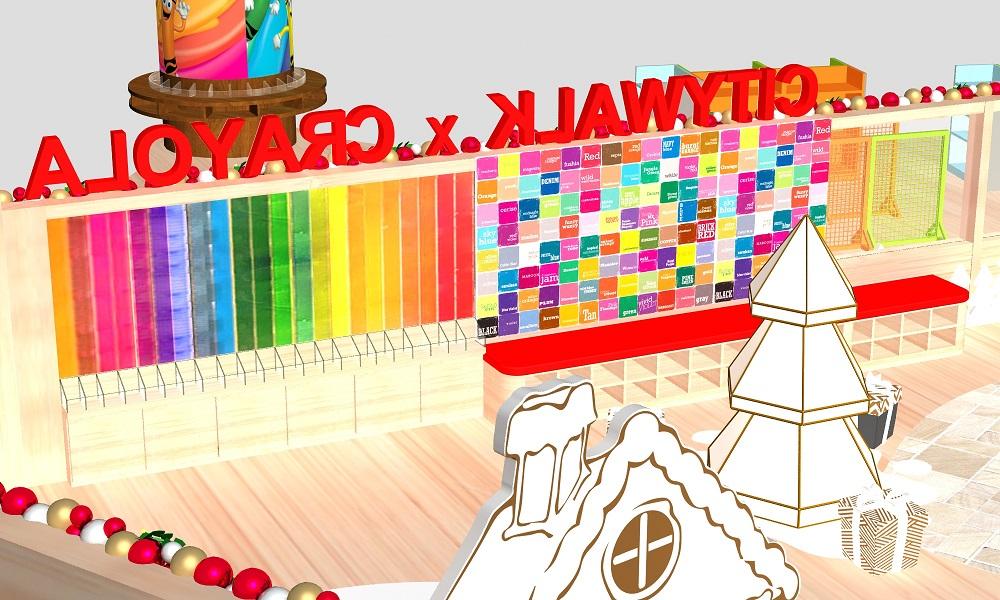 荃灣全港最大彩虹蠟筆牆 逾3萬支22種不同顏色蠟筆砌成
