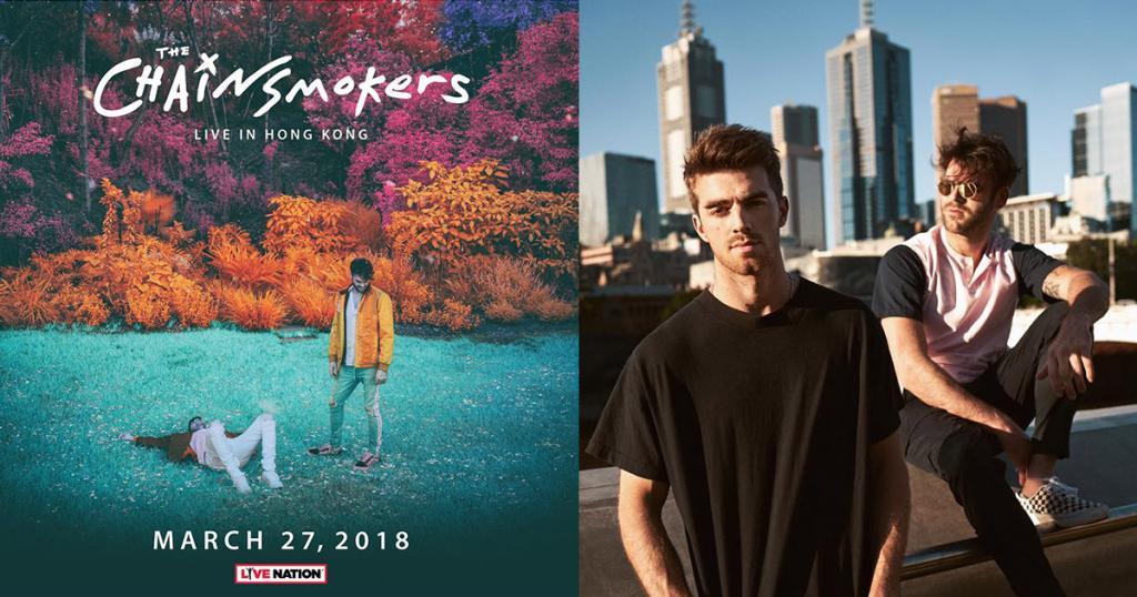 人氣EDM組合The Chainsmokers 2018年3月首度香港開騷