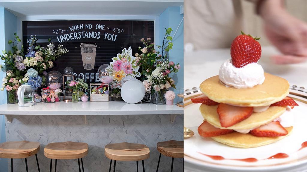 【尖沙咀美食】尖沙咀粉藍花系主題Cafe!玫瑰班戟/洛神花豚肉漢堡